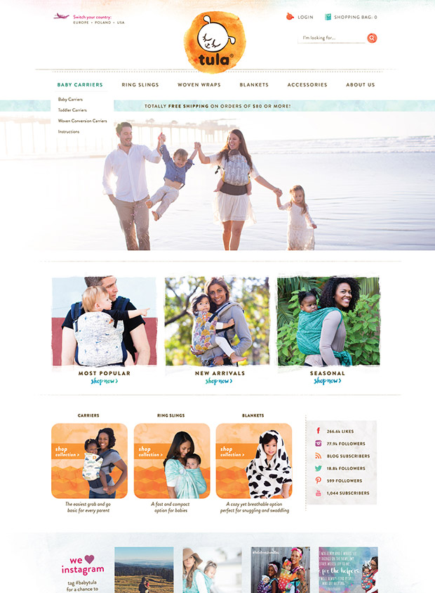 Custom Ecommerce design Baby Tula Baby Carriers Tula Love
