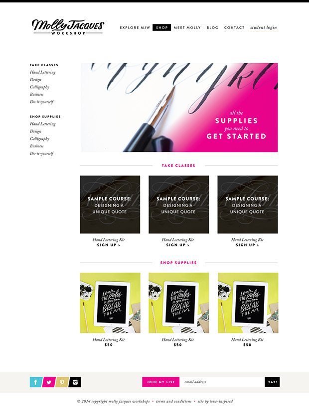 Custom Ecommerce design Hand lettering Calligraphy Molly Jacques Workshop